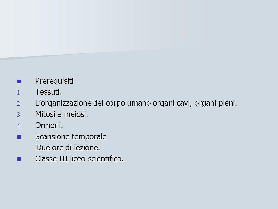Prerequisiti Prerequisiti 1. Tessuti. 2.
