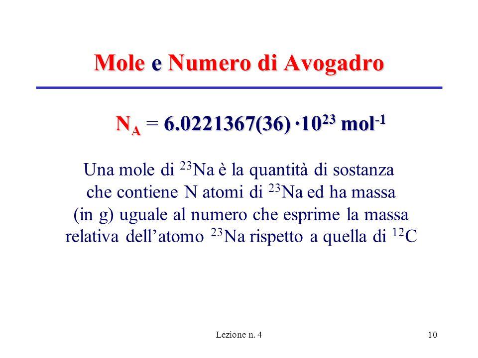 Lezione n. 410 Mole e Numero di Avogadro N A 6.0221367(36) ·10 23 mol -1 N A = 6.0221367(36) ·10 23 mol -1 Una mole di 23 Na è la quantità di sostanza