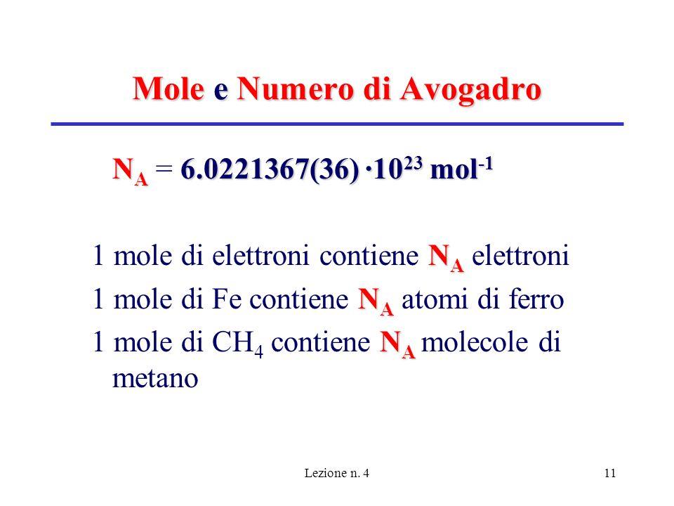 Lezione n. 411 Mole e Numero di Avogadro N A 6.0221367(36) ·10 23 mol -1 N A = 6.0221367(36) ·10 23 mol -1 N A 1 mole di elettroni contiene N A elettr