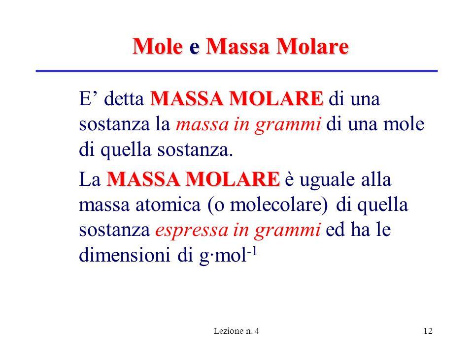 Lezione n. 412 Mole e Massa Molare MASSA MOLARE E detta MASSA MOLARE di una sostanza la massa in grammi di una mole di quella sostanza. MASSA MOLARE L