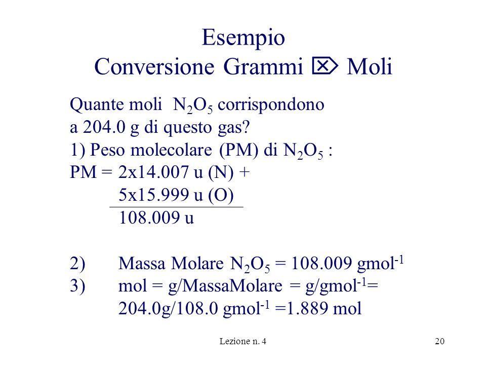 Lezione n. 420 Esempio Conversione Grammi Moli Quante moli N 2 O 5 corrispondono a 204.0 g di questo gas? 1) Peso molecolare (PM) di N 2 O 5 : PM =2x1