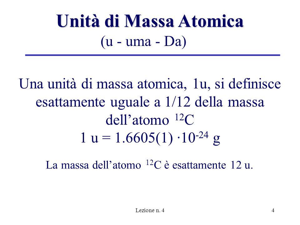 Lezione n. 44 Unità di Massa Atomica Una unità di massa atomica, 1u, si definisce esattamente uguale a 1/12 della massa dellatomo 12 C 1 u = 1.6605(1)