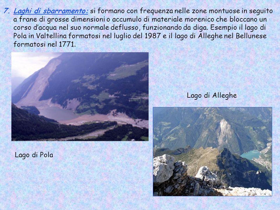 7.Laghi di sbarramento: si formano con frequenza nelle zone montuose in seguito a frane di grosse dimensioni o accumulo di materiale morenico che bloc