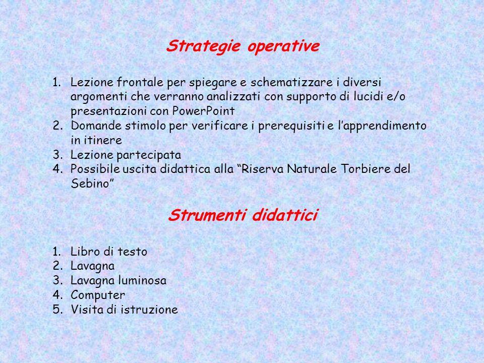 Strategie operative 1.Lezione frontale per spiegare e schematizzare i diversi argomenti che verranno analizzati con supporto di lucidi e/o presentazio
