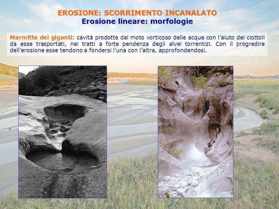 EROSIONE: SCORRIMENTO INCANALATO Erosione lineare: morfologie Marmitte dei giganti: cavità prodotte dal moto vorticoso delle acque con laiuto dei ciot