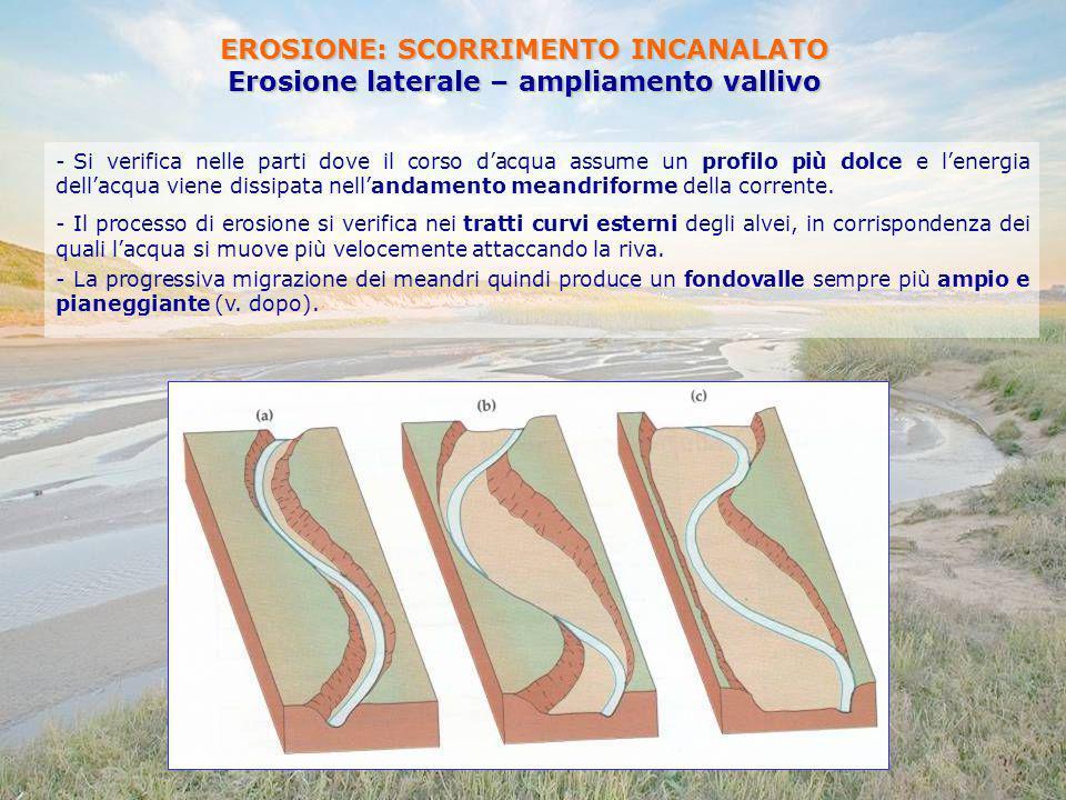 EROSIONE: SCORRIMENTO INCANALATO Erosione laterale – ampliamento vallivo - Si verifica nelle parti dove il corso dacqua assume un profilo più dolce e
