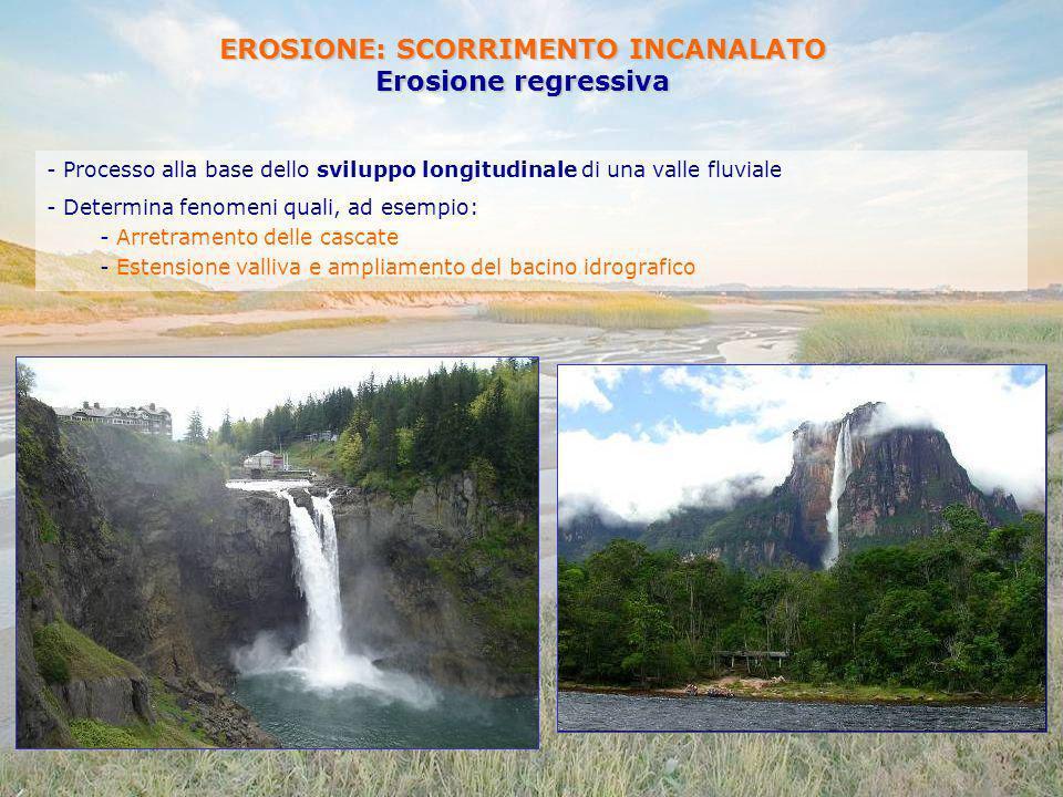 EROSIONE: SCORRIMENTO INCANALATO Erosione regressiva - Processo alla base dello sviluppo longitudinale di una valle fluviale - Determina fenomeni qual