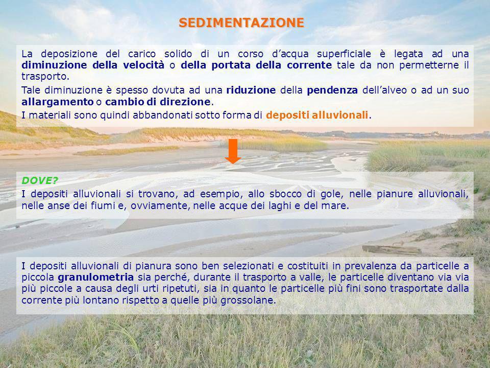 SEDIMENTAZIONE La deposizione del carico solido di un corso dacqua superficiale è legata ad una diminuzione della velocità o della portata della corre