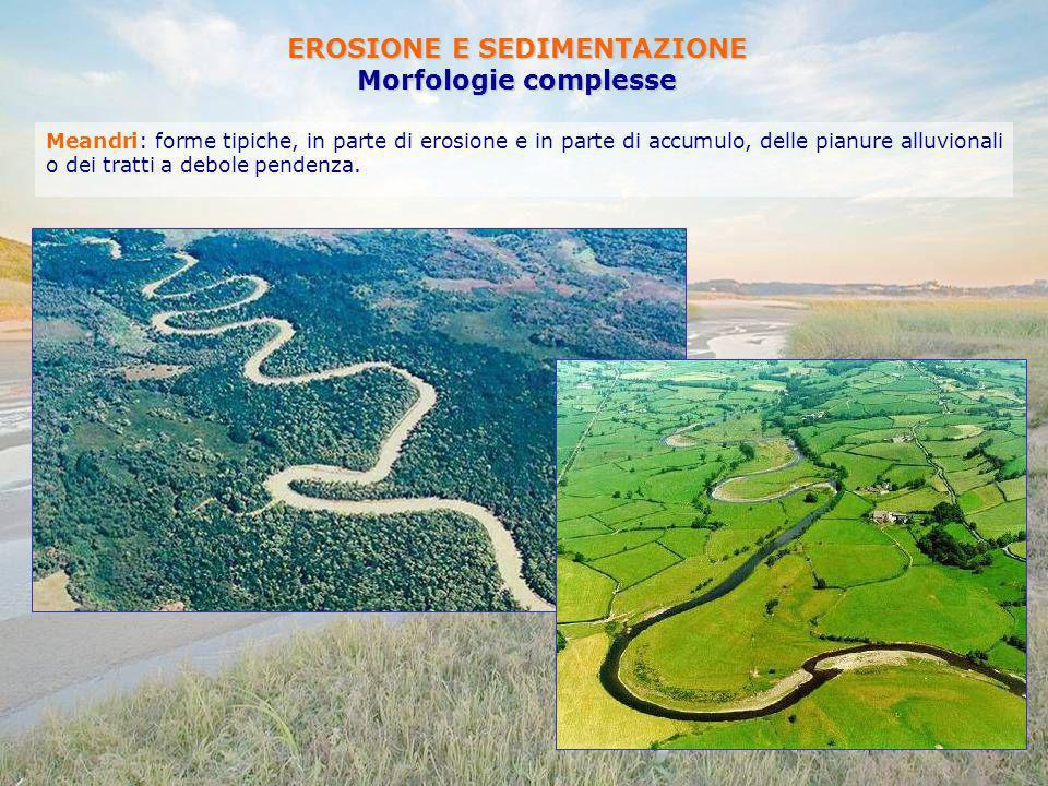 EROSIONE E SEDIMENTAZIONE Morfologie complesse Meandri: forme tipiche, in parte di erosione e in parte di accumulo, delle pianure alluvionali o dei tr
