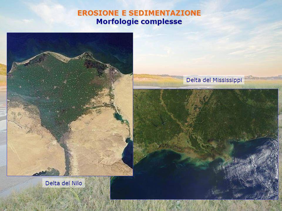 EROSIONE E SEDIMENTAZIONE Morfologie complesse Delta del Nilo Delta del Mississippi