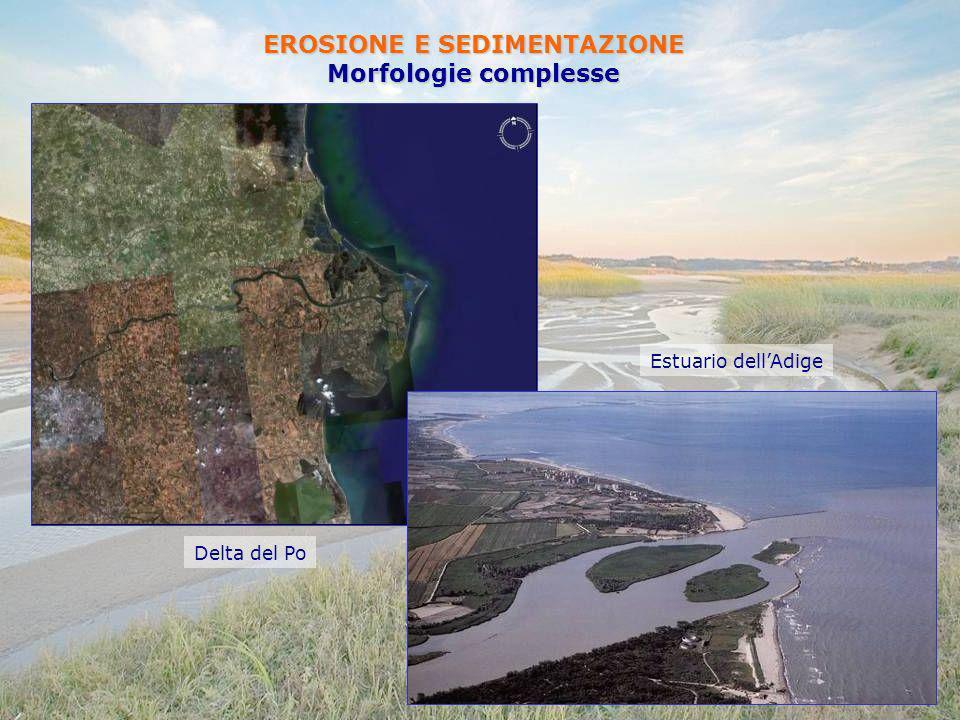 EROSIONE E SEDIMENTAZIONE Morfologie complesse Estuario dellAdige Delta del Po