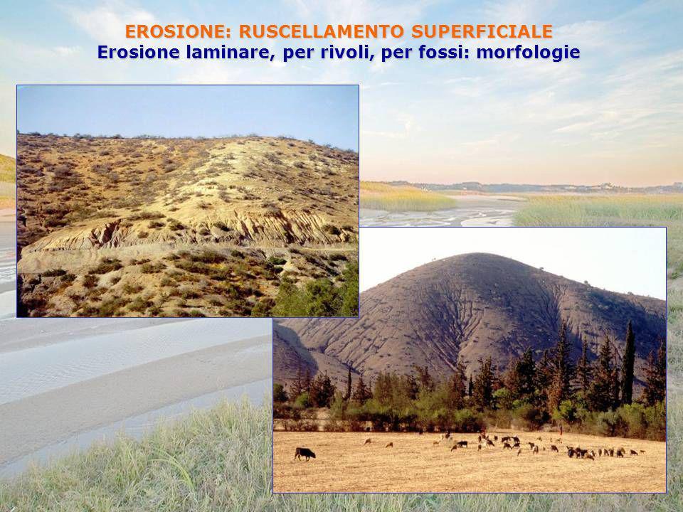 EROSIONE: RUSCELLAMENTO SUPERFICIALE Erosione laminare, per rivoli, per fossi: morfologie