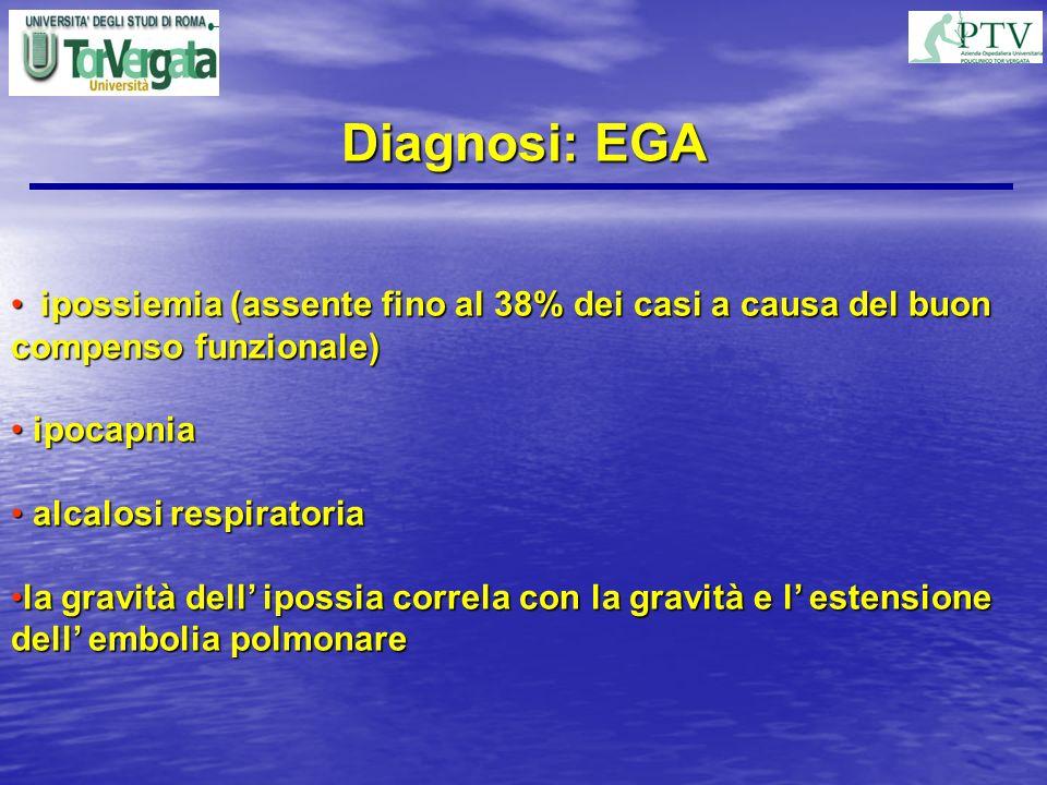 Diagnosi: EGA ipossiemia (assente fino al 38% dei casi a causa del buon compenso funzionale) ipossiemia (assente fino al 38% dei casi a causa del buon