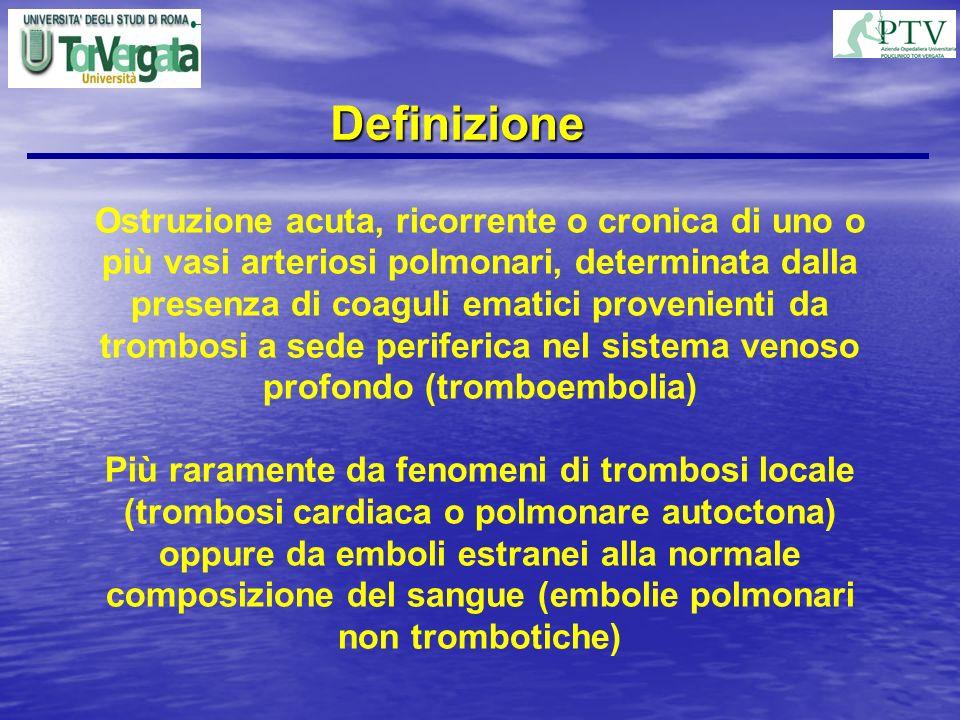 Definizione Ostruzione acuta, ricorrente o cronica di uno o più vasi arteriosi polmonari, determinata dalla presenza di coaguli ematici provenienti da