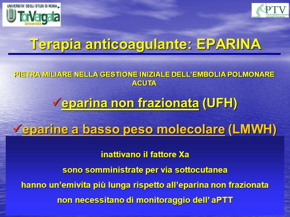 Terapia anticoagulante: EPARINA PIETRA MILIARE NELLA GESTIONE INIZIALE DELLEMBOLIA POLMONARE ACUTA eparina non frazionata (UFH) eparina non frazionata