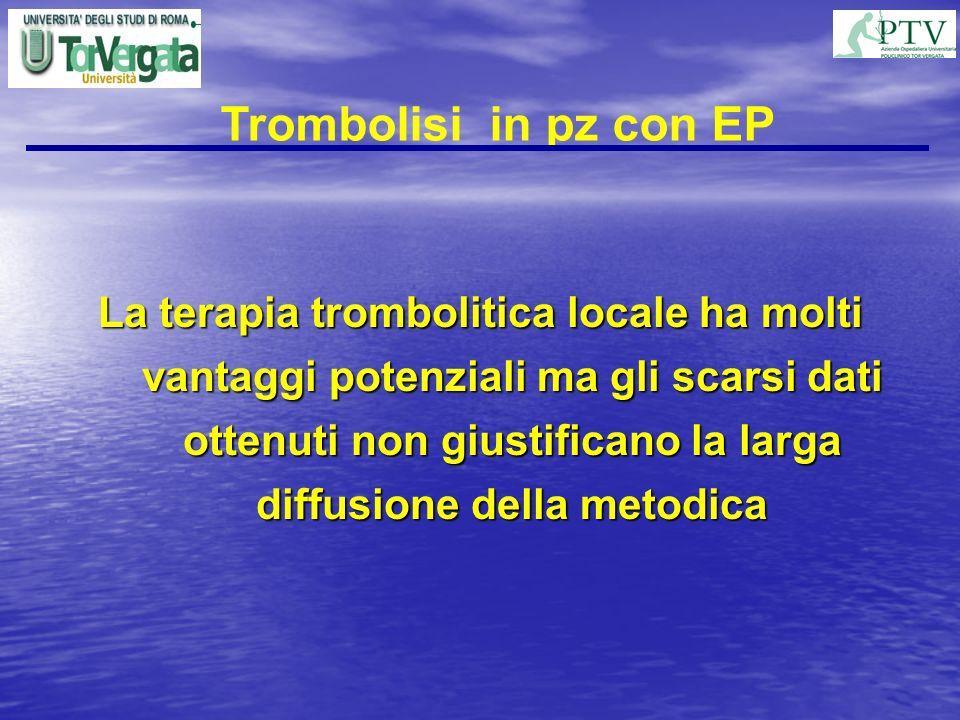 La terapia trombolitica locale ha molti vantaggi potenziali ma gli scarsi dati ottenuti non giustificano la larga diffusione della metodica Trombolisi