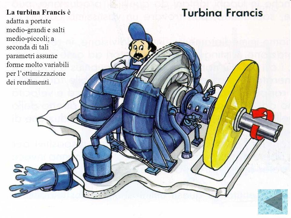 La turbina Francis è adatta a portate medio grandi e salti medio piccoli; a seconda di tali parametri assume forme molto variabili per lottimizzazione