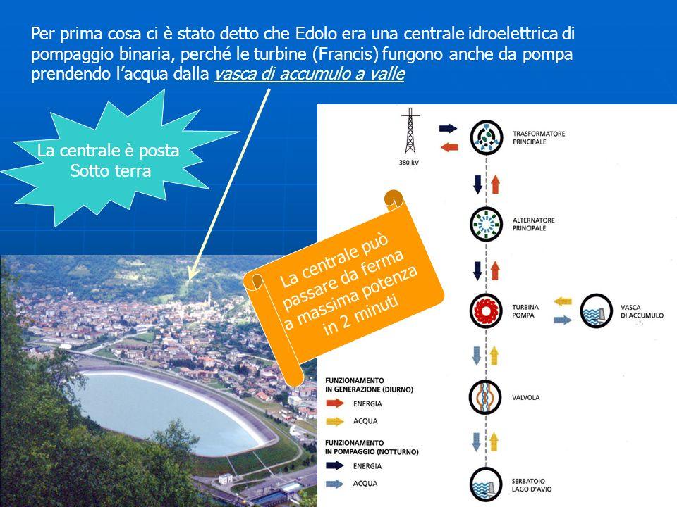 Per prima cosa ci è stato detto che Edolo era una centrale idroelettrica di pompaggio binaria, perché le turbine (Francis) fungono anche da pompa pren