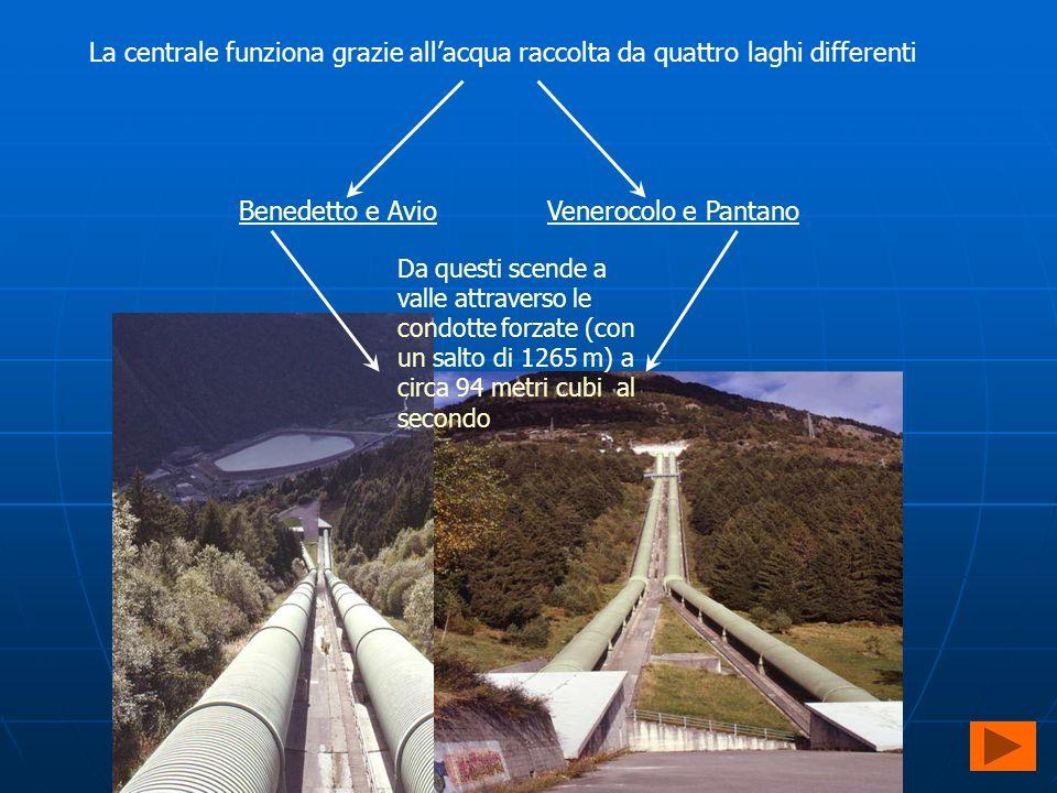 La centrale funziona grazie allacqua raccolta da quattro laghi differenti Benedetto e AvioVenerocolo e Pantano Da questi scende a valle attraverso le