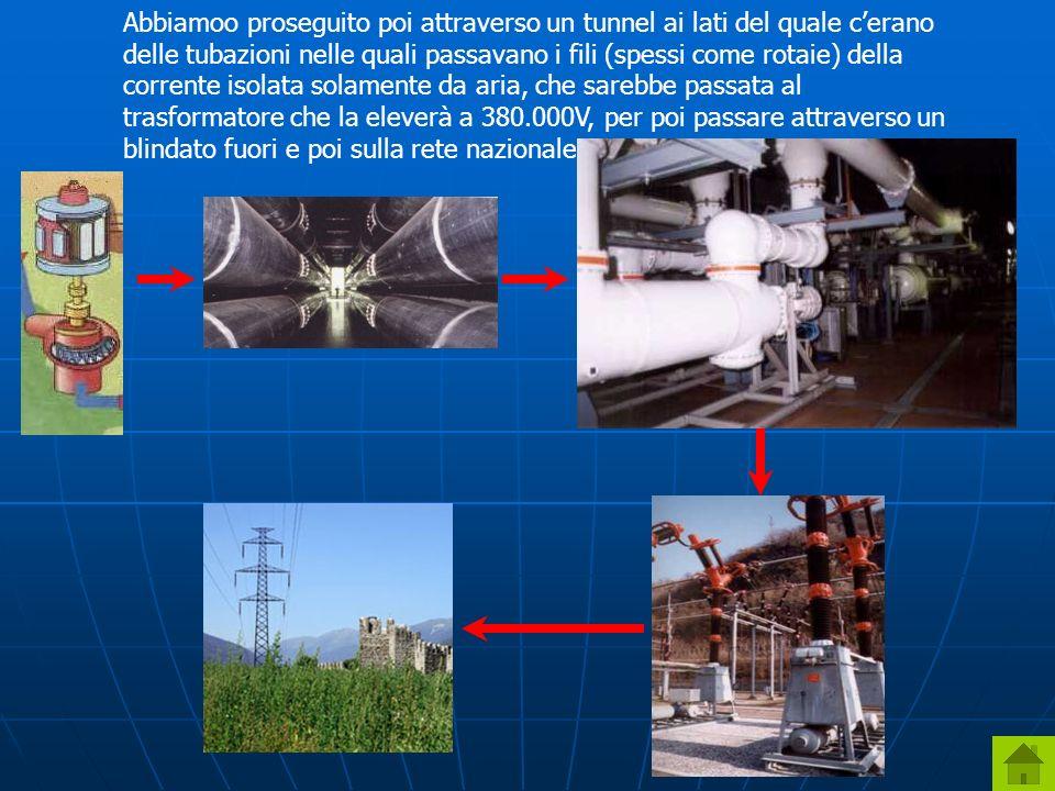 Abbiamoo proseguito poi attraverso un tunnel ai lati del quale cerano delle tubazioni nelle quali passavano i fili (spessi come rotaie) della corrente