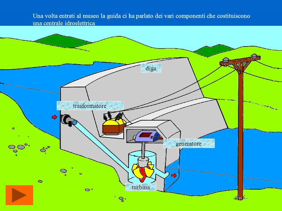 Una volta entrati al museo la guida ci ha parlato dei vari componenti che costituiscono una centrale idroelettrica diga turbina generatore trasformato