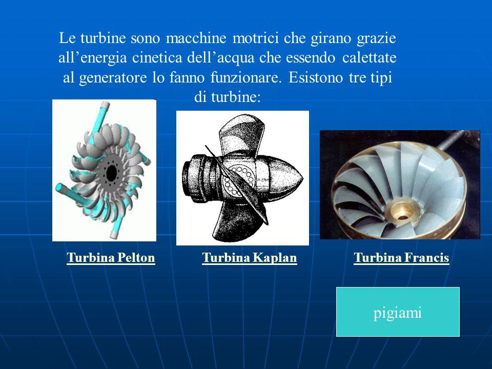 Le turbine sono macchine motrici che girano grazie allenergia cinetica dellacqua che essendo calettate al generatore lo fanno funzionare. Esistono tre