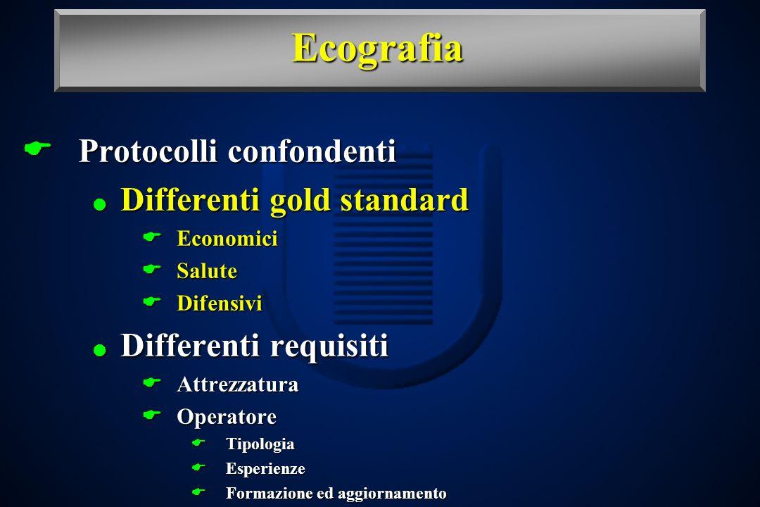 Ecografia Protocolli confondenti Protocolli confondenti Differenti gold standard Differenti gold standard Economici Economici Salute Salute Difensivi