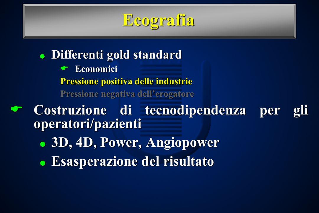 Ecografia Differenti gold standard Differenti gold standard Economici Economici Pressione positiva delle industrie Pressione negativa dellerogatore Co