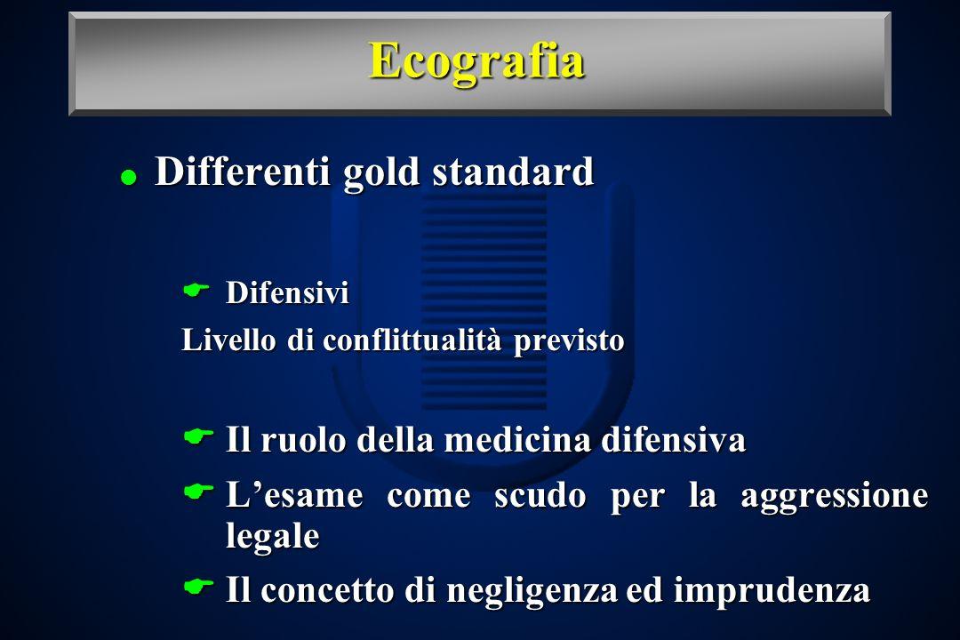 Ecografia Differenti gold standard Differenti gold standard Difensivi Difensivi Livello di conflittualità previsto Il ruolo della medicina difensiva I
