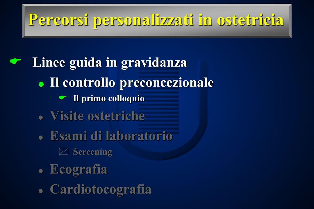 Percorsi personalizzati in ostetricia Linee guida in gravidanza Linee guida in gravidanza Il controllo preconcezionale Il controllo preconcezionale Il