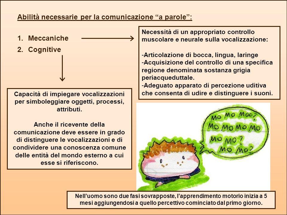 Abilità necessarie per la comunicazione a parole: 1.Meccaniche 2.Cognitive Capacità di impiegare vocalizzazioni per simboleggiare oggetti, processi, a