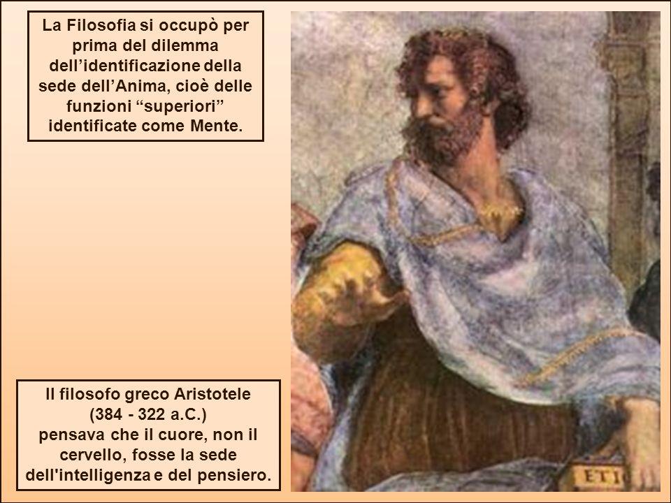 Il filosofo greco Aristotele (384 - 322 a.C.) pensava che il cuore, non il cervello, fosse la sede dell'intelligenza e del pensiero. La Filosofia si o