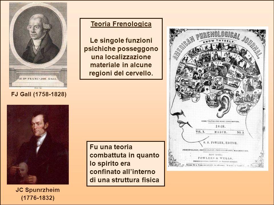 JC Spunrzheim (1776-1832) FJ Gall (1758-1828) Teoria Frenologica Le singole funzioni psichiche posseggono una localizzazione materiale in alcune regio