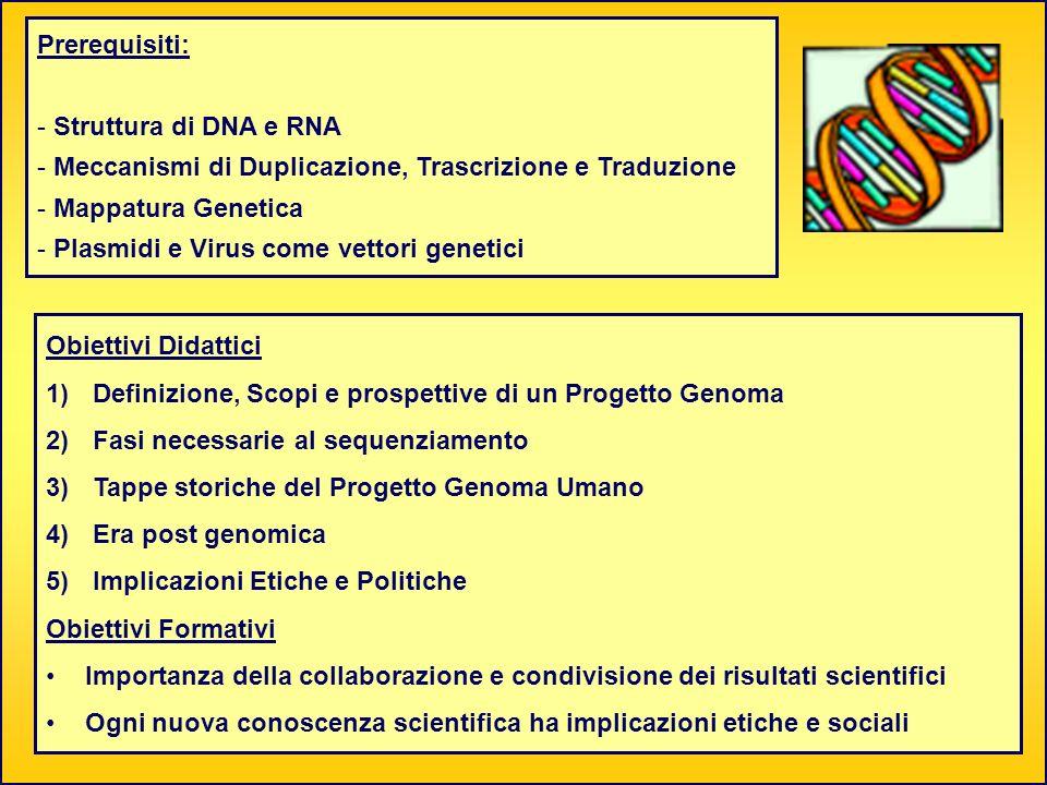 Obiettivi Didattici 1) Definizione, Scopi e prospettive di un Progetto Genoma 2) Fasi necessarie al sequenziamento 3) Tappe storiche del Progetto Geno