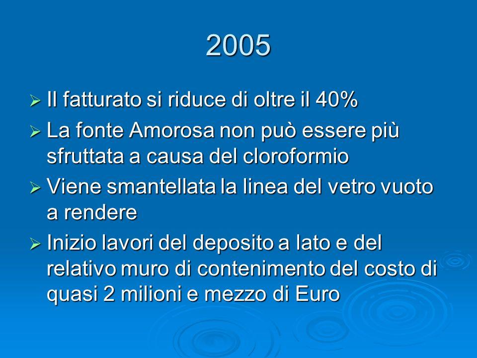 2005 Il fatturato si riduce di oltre il 40% Il fatturato si riduce di oltre il 40% La fonte Amorosa non può essere più sfruttata a causa del cloroform