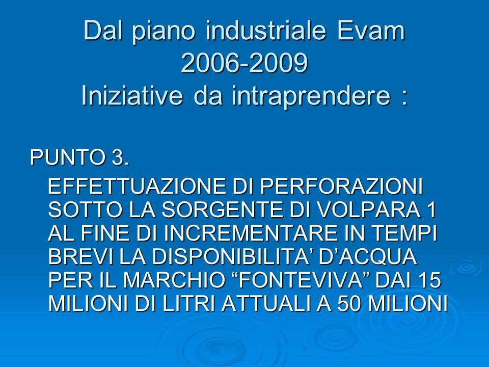 Dal piano industriale Evam 2006-2009 Iniziative da intraprendere : PUNTO 3. EFFETTUAZIONE DI PERFORAZIONI SOTTO LA SORGENTE DI VOLPARA 1 AL FINE DI IN