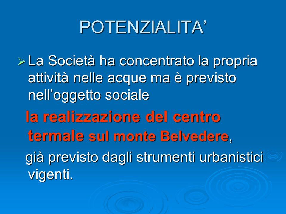 POTENZIALITA La Società ha concentrato la propria attività nelle acque ma è previsto nelloggetto sociale La Società ha concentrato la propria attività