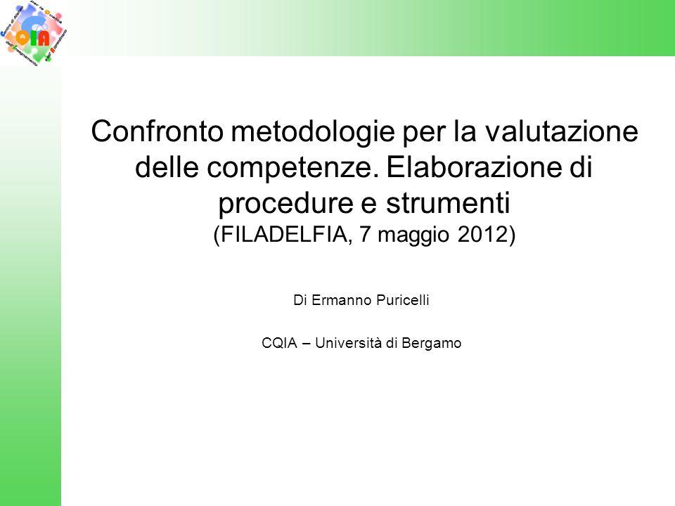 Confronto metodologie per la valutazione delle competenze.