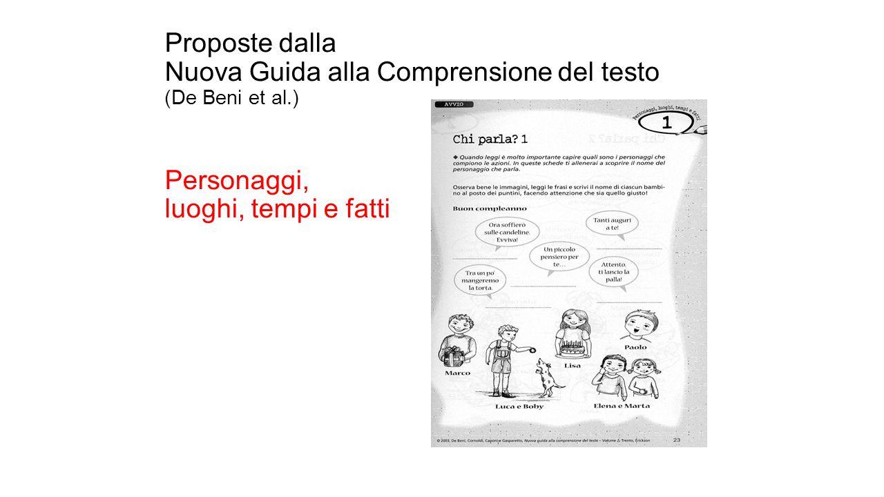 Proposte dalla Nuova Guida alla Comprensione del testo (De Beni et al.) Personaggi, luoghi, tempi e fatti