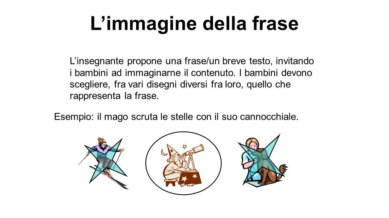 Limmagine della frase Linsegnante propone una frase/un breve testo, invitando i bambini ad immaginarne il contenuto. I bambini devono scegliere, fra v