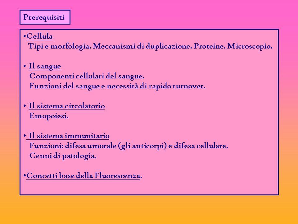 Prerequisiti Cellula Tipi e morfologia.Meccanismi di duplicazione.