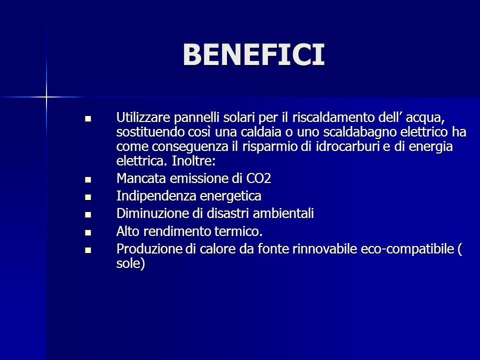 BENEFICI Utilizzare pannelli solari per il riscaldamento dell acqua, sostituendo così una caldaia o uno scaldabagno elettrico ha come conseguenza il risparmio di idrocarburi e di energia elettrica.