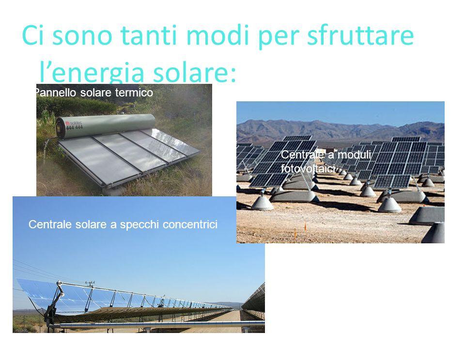 Ci sono tanti modi per sfruttare lenergia solare: Pannello solare termico Centrale solare a specchi concentrici Centrale a moduli fotovoltaici