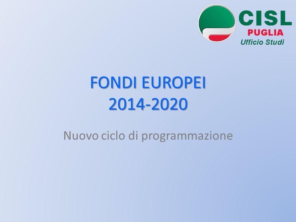 FONDI EUROPEI 2014-2020 Nuovo ciclo di programmazione Ufficio Studi