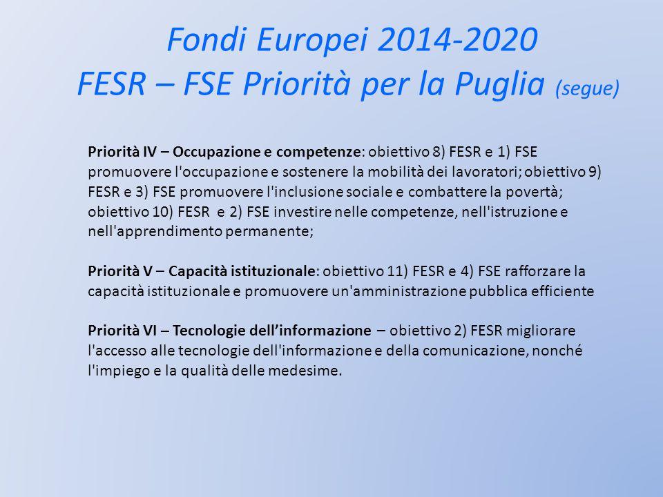 Fondi Europei 2014-2020 FESR – FSE Priorità per la Puglia (segue) Priorità IV – Occupazione e competenze: obiettivo 8) FESR e 1) FSE promuovere l'occu