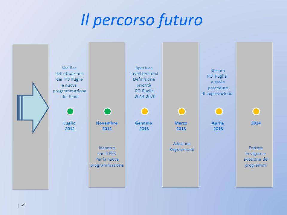 14 Il percorso futuro 2014Luglio 2012 Aprile 2013 Marzo 2013 Gennaio 2013 Novembre 2012 Verifica dellattuazione dei PO Puglia e nuova programmazione d