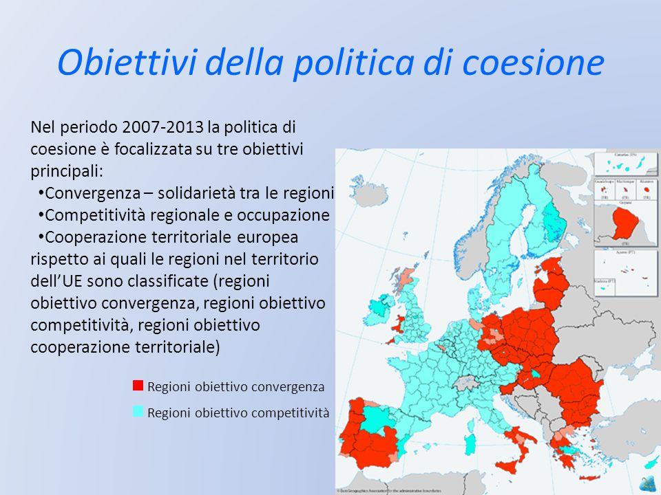 Obiettivi della politica di coesione Nel periodo 2007-2013 la politica di coesione è focalizzata su tre obiettivi principali: Convergenza – solidariet