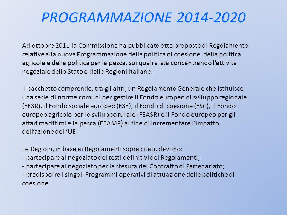 PROGRAMMAZIONE 2014-2020 Ad ottobre 2011 la Commissione ha pubblicato otto proposte di Regolamento relative alla nuova Programmazione della politica d