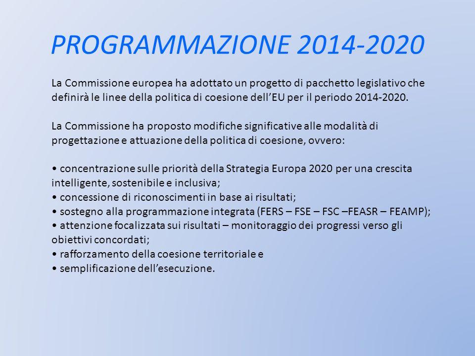 PROGRAMMAZIONE 2014-2020 La Commissione europea ha adottato un progetto di pacchetto legislativo che definirà le linee della politica di coesione dell