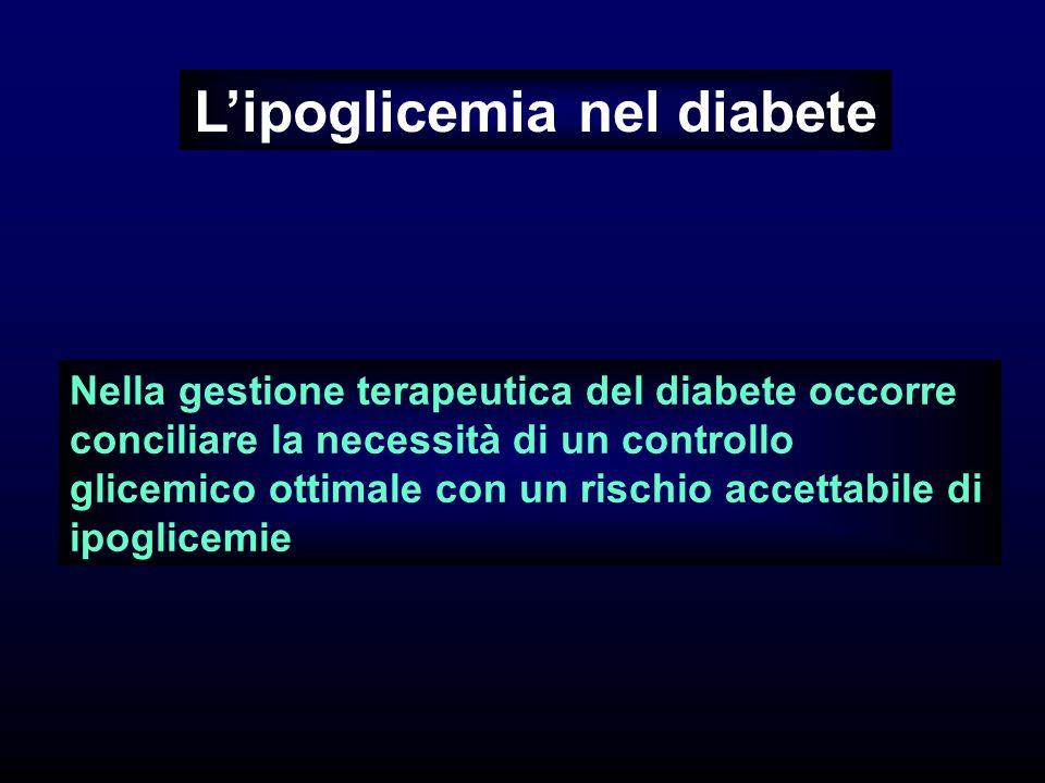 Lipoglicemia nel diabete Nella gestione terapeutica del diabete occorre conciliare la necessità di un controllo glicemico ottimale con un rischio accettabile di ipoglicemie